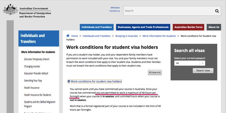 学生ビザ 労働時間 制限 オーストラリア