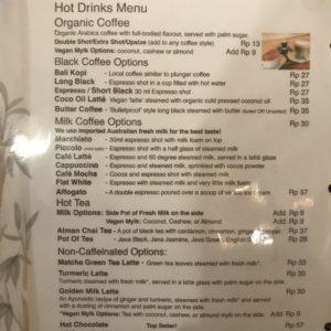 バリ カフェ 物価