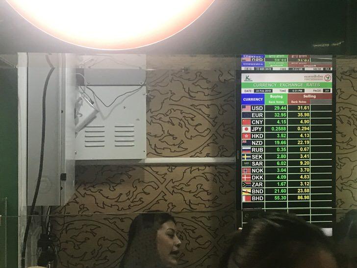 タイ 通貨 両替 スワンナプーム空港 レート