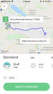 トビリシ タクシー 配車 アプリ
